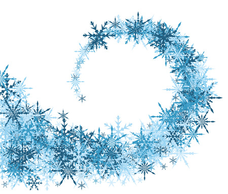whirl: White winter background with whirl of blue snowflakes. Vector illustration. Illustration
