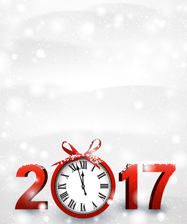 hristmas: 2017 New Year snowy background with red clock. Vector illustration. Illustration