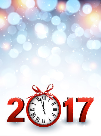 hristmas: 2017 New Year luminous background with red clock. Vector illustration.