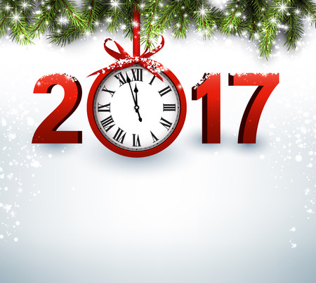 luminous: 2017 New Year luminous background with clock. Vector illustration.