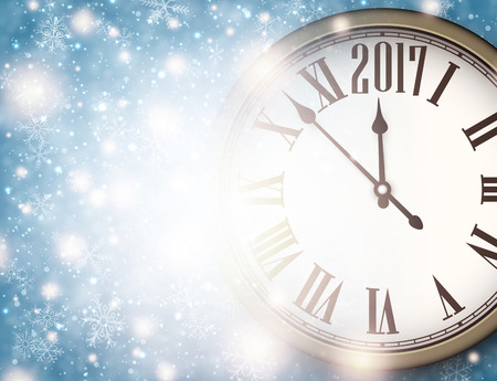 cover background time: 2017 New Year background with clock and snowflakes. Vector illustration.