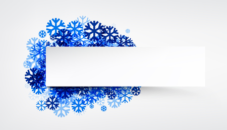 white winter: White winter banner with blue snowflakes. Vector illustration.