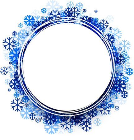 white winter: White winter round background with blue snowflakes. Vector illustration.