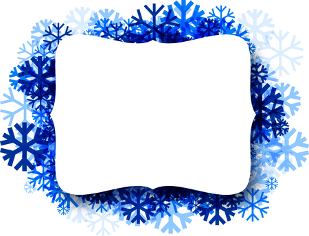 white winter: White winter figured background with blue snowflakes. Vector illustration.