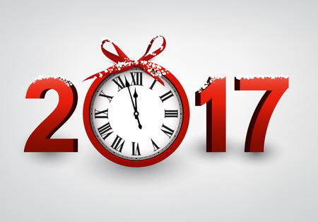 hristmas: 2017 New Year gray background with red clock. Vector illustration. Illustration