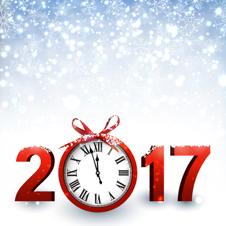 hristmas: 2017 New Year blue background with clock and snow. Vector illustration.