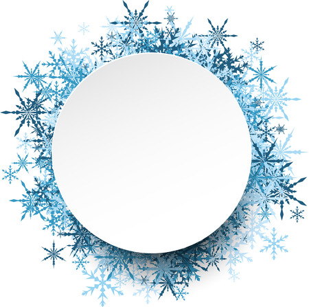 original circular abstract: White winter round background with blue snowflakes. Vector illustration.