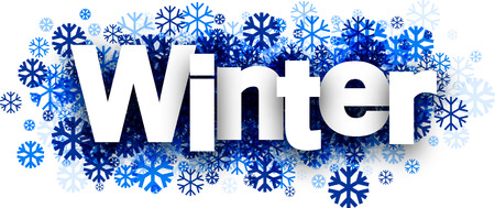 wintery: Winter white background with blue snowflakes. Vector illustration.