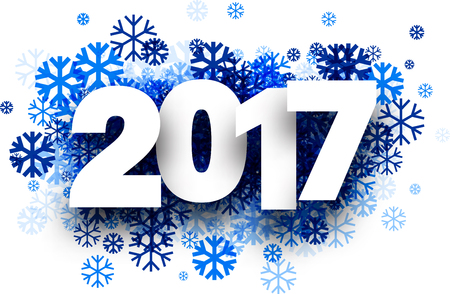 2017 New Year winter background with blue snowflakes. Vector paper illustration.