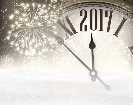 chiming: 2017 New Year background with clock, snow and fireworks. Vector illustration. Illustration