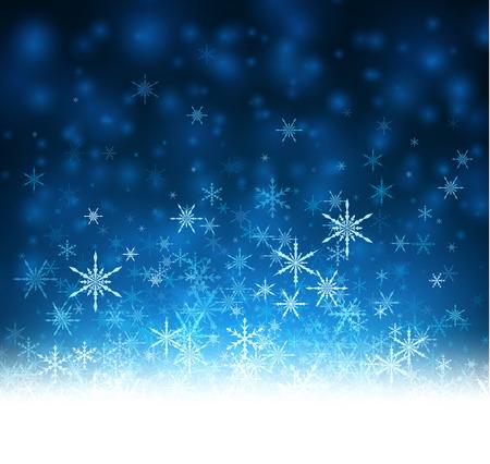 luminous: Blue winter luminous background with snowflakes. Vector illustration.