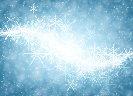 whirl: Blue luminous winter background with whirl of snowflakes. Vector illustration. Illustration
