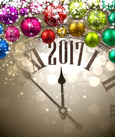 2017 New Year background with clock and colored balls. Vector illustration. Illustration