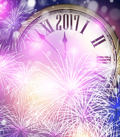 christmas time: 2017 New Year background with clock and fireworks. Vector illustration.
