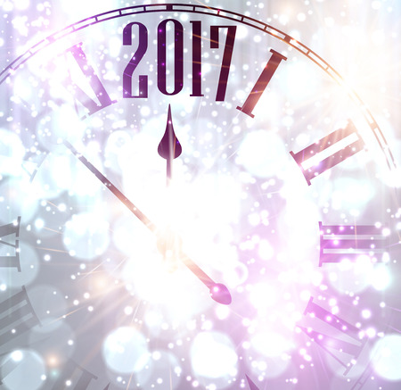 violeta: 2017 New Year lilac shining background with clock. Vector illustration.