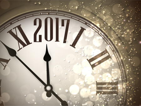 new years background: 2017 New Year sepia background with clock. Vector illustration.
