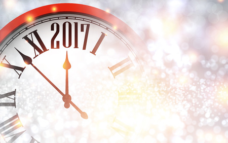christmas time: 2017 New Year shining background with red clock. Vector illustration.