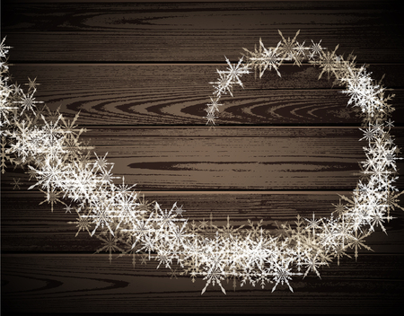 timbered: Wooden winter background with whirl of white snowflakes. Vector illustration. Illustration