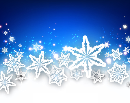 wintery: Winter blue background with white beautiful snowflakes.