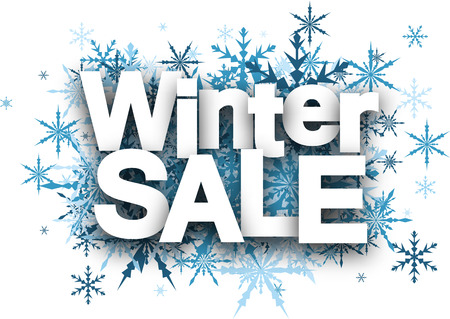 White winter sale background with blue snowflakes.