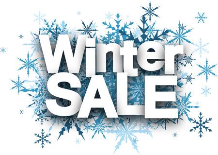 Witte winter te koop achtergrond met blauwe sneeuwvlokken.