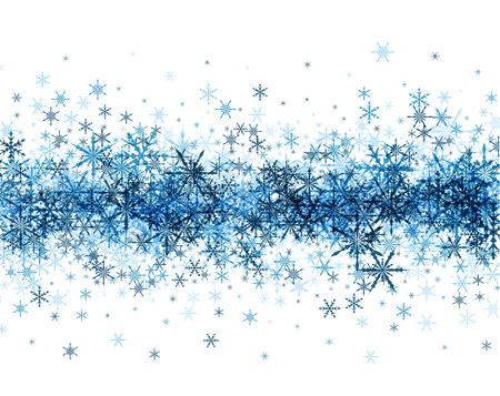 white winter: White winter background with strip of blue snowflakes.