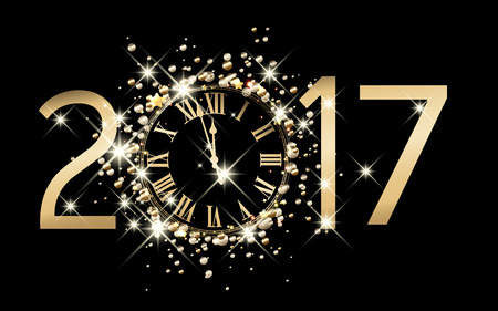 figures: 2017 new year black background with clock.