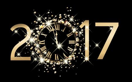 reloj: fondo negro 2017 año nuevo con el reloj. Vectores