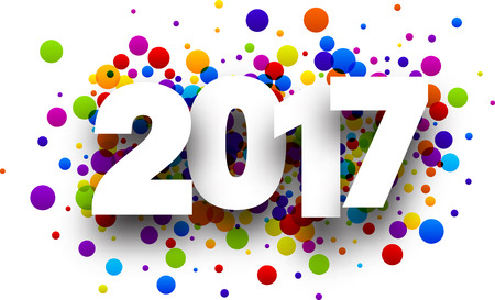 2017 white sign with color confetti background. Ilustração