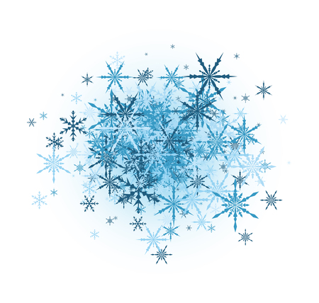 White winter background with blue snowflakes. Illustration