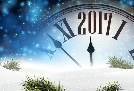 holiday season: 2017 year background with clock, fir branches and snow.
