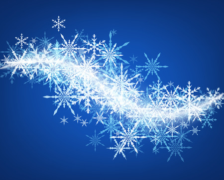 Blue winter background with whirl of snowflakes.