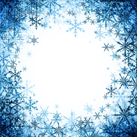 frosty: White winter background with blue snowflakes. Illustration