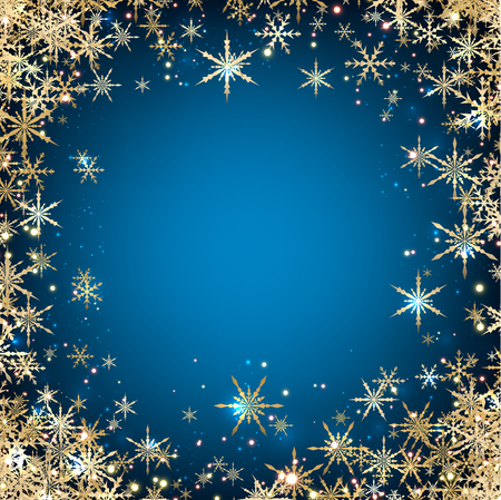 wintery: Blue winter background with snowflakes. Illustration