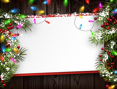 christmas garland: Wooden background with color Christmas garland and fir branches.