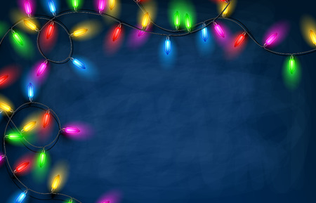 christmas garland: Color Christmas garland of lights on blue background.