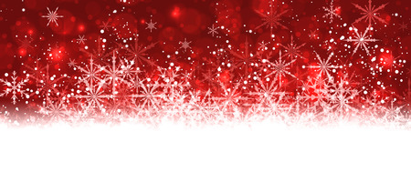 Red winter banner with snowflakes.