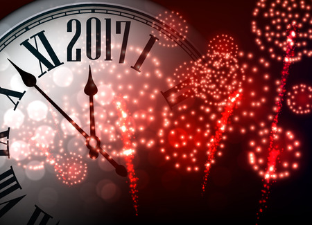 2017 New Year background with clock and red fireworks.