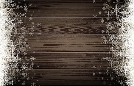 white winter: Wooden winter background with white snowflakes.