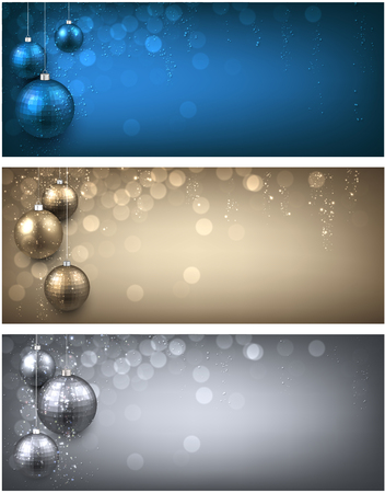 sparkling: New Year banners set with Christmas balls.