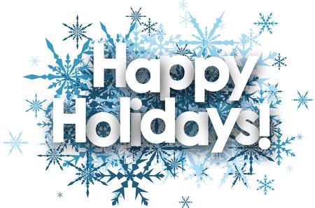 White Szczęśliwego wakacyjne tła z niebieskim płatki śniegu. Ilustracje wektorowe