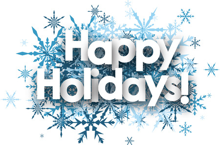 White happy holidays background with blue snowflakes.