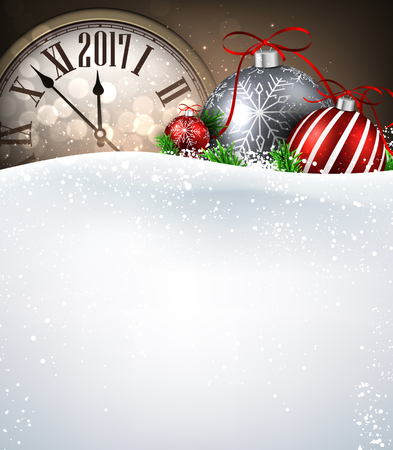 2017 New Year background with clock, balls and snow. Vector illustration.
