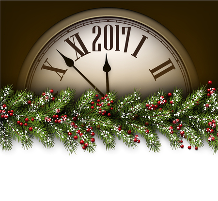 time of the year: 2017 New Year background with clock and fir branch. Vector illustration.