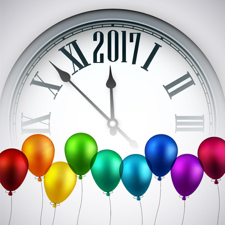 2017 Year background with clock and color balloons. Vector illustration. Illustration