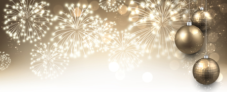 year greetings: New Year banner with Christmas balls and fireworks. Vector illustration.