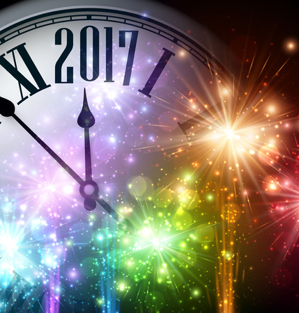 cover background time: 2017 New Year background with clock and colorful lights. Vector illustration.