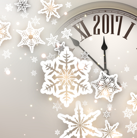 chiming: 2017 New Year background with clock and snowflakes. Vector illustration.
