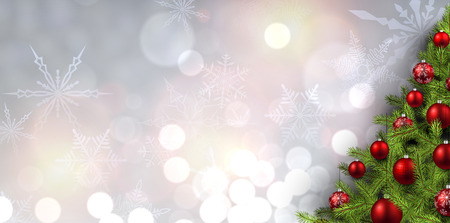 background banner: New Year banner with Christmas tree and snowflakes. Vector illustration.