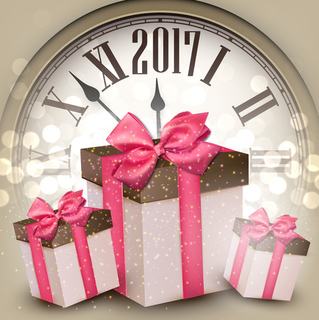 hristmas: 2017 New Year beige background with clock and gifts. Vector illustration.